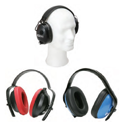 Padded ear defenders with headband - red